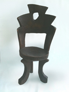 Ethiopian small chair curved barrel back african wood chair carved chair
